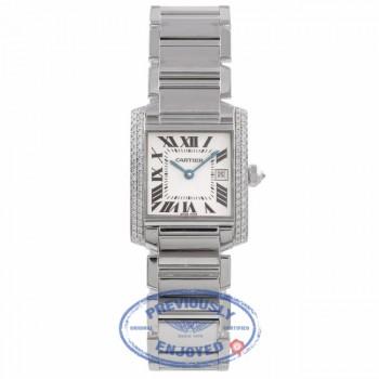 Cartier Tank Francaise Medium 18K White Gold Diamond Bezel White Dial Bracelet WE101853 N7YC0X