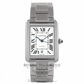 Cartier Tank Solo XL Automatic Stainless Steel Roman Numerals Silver Dial W5200028 XK2Z8M - Beverly Hills Watch Store