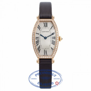 Cartier Tonneau Small 18k Rose Gold Silver Sunray Dial Diamond Bezel WE400331 RIQMX3 - Beverly Hills Watch Company Watch Store