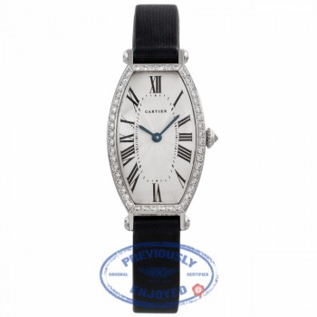 Cartier Tonneau Small Manual-Wind 18k White Gold Diamond Bezel Silver Dial Satin Strap WE400131 T5P8HR - Beverly Hills Watch Company Watch Store
