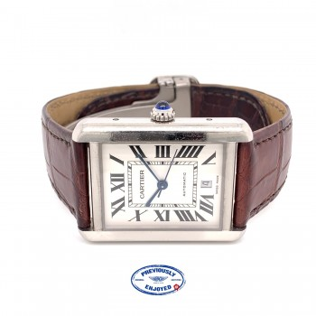 Cartier Tank Solo XL Automatic Stainless Steel Roman Numerals Silver Dial WSTA0029 EJERLH
