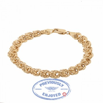 Vintage 18K Yellow Gold Bracelet With Chain Motif - Beverly Hills Watch Company Watch Store