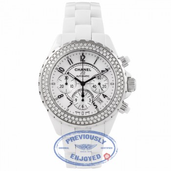 Chanel J-12 White Ceramic 41MM Chronograph Diamond Bezel H1008 AKUER2 - Beverly Hills Watch Company Watch Store