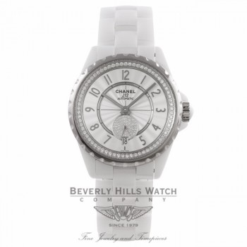 Chanel J12 36MM White Ceramic White Diamond Dial on Bracelet H3841 VF6CZ5 - Beverly Hills Watch Company Watch Store