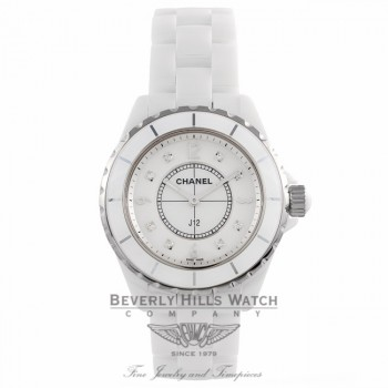 Chanel J12 38MM White Ceramic Case White Mother of Pearl Dial H3214 ZHR2UE - Beverly Hills Watch Company Watch Store