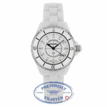 Chanel J12 White Ceramic 33mm Quartz Diamond dial H1628 32XW93 - Beverly Hills Watch Company