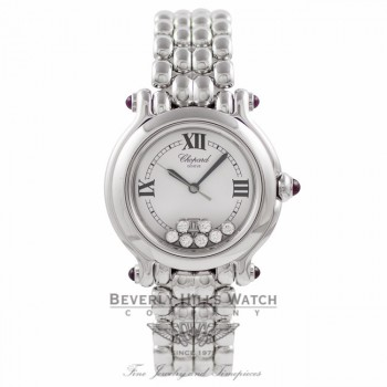 Chopard Happy Sport Medium Ladies 18k White Gold 7 Floating Diamonds White Dial 27/6137-21W BMGUK3 - Beverly Hills Watch Company Watch Store