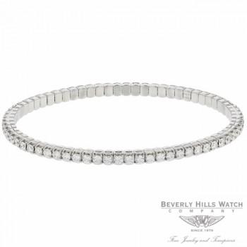 Naira & C 18k White Gold Stretchy Bangle Tennis Bracelet CTV1WL - Beverly Hills Watch Company