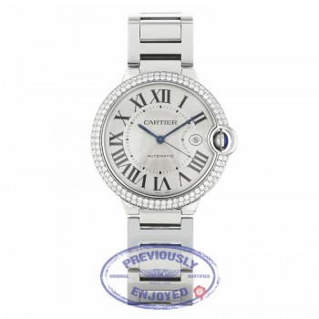 Cartier Ballon Bleu Customized Diamond Bezel 42mm Stainless Steel WE9009Z3 RU06EX - Beverly Hills Watch