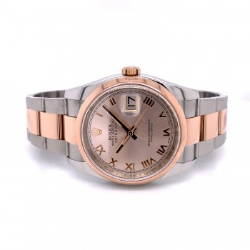 Rolex Datejust 36MM Stainless Rose Gold Domed Bezel Pink Roman Dial 116201 CYWLJ7 - Beverly Hills Watch Company