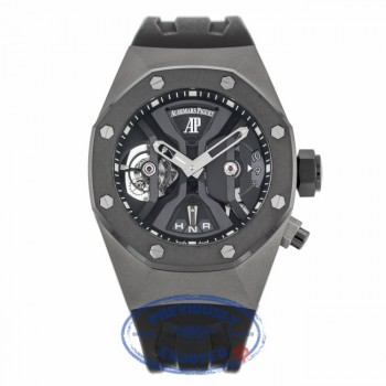 Audemars Piguet Royal Oak GMT Tourbillon Concept 44MM Titanium Black Ceramic Bezel Rubber Strap 26560IO.OO.D002CA.01 PMTXML - Beverly Hills Watch