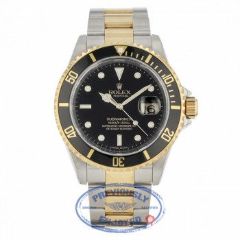 Rolex Submariner Stainless Steel and Yellow Gold Black Dial Black Ceramic Bezel 16613 - Beverly Hills Watch