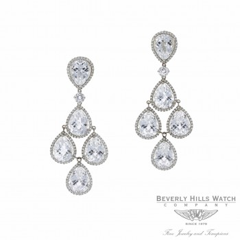 Naira & C White Topaz and Diamond Chandelier Earrings 00LUNK - Beverly Hills Watch and Jewelry Company