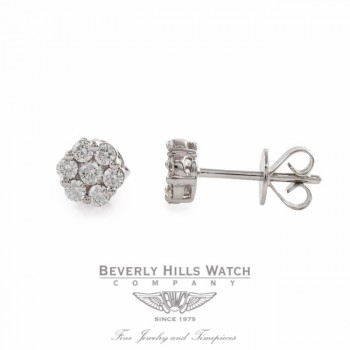 Stud Earrings 18k White Gold Diamond Rosette 37387B QTX8AN - Beverly Hills Watch Store
