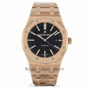 Audemars Piguet Royal Oak 41MM Automatic 18k Rose Gold Black Dial 15400OR.OO.1220OR.01 K5UQCV - Beverly Hills Watch