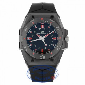 Linde Werdeline Hard Black III GMT 44MM Black Stainless Steel DLC Black Dial Red Markings HB.III-GMT - Beverly Hills Watch
