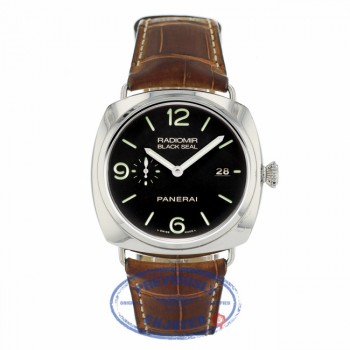 Panerai Radiomir 3 Day Power Reserve Automatic Black Dial Black Leather Strap PAM00388 - Beverly Hills Watch