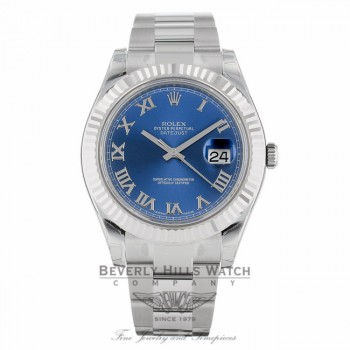 Rolex Datejust II 41mm Stainless Steel White Gold Fluted Bezel Blue Roman Dial 116334 - Beverly Hills Watch
