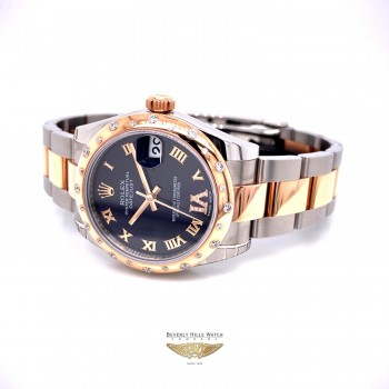 Rolex Datejust 31mm Rose Gold and Stainless 24 Diamond Bezel Purple Diamond Roman Dial 178341 FN4W0N - Beverly Hills Watch Company