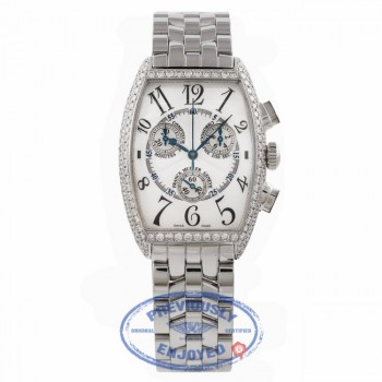 Franck Muller Curvex Chronograph 18k White Gold Diamond Stainless Steel Bracelet 2852 CC QZ D 269NHA - Beverly Hills Watch Store