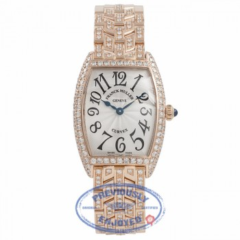 Franck Muller Cintree Curvex 18k Rose Gold Silver Dial Diamond Bezel 1752QZD YCBLSY - Beverly Hills Watch Company Watch Store