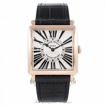 Franck Muller Master Square Quartz Ladies 18k Rose Gold Silver Dial 6002 M QZ R - UN55X5 - Beverly Hills Watch Company Watch Store