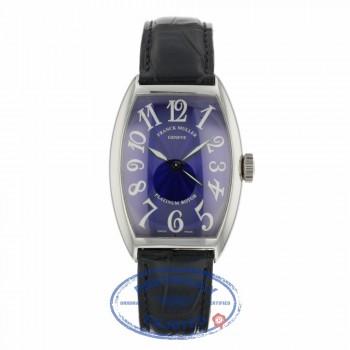 Franck Muller Tonneau Platinum Case Blue Guilloche Dial  5850SC Z338TQ - Beverly Hills Watch