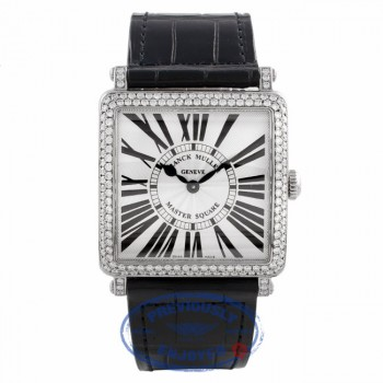 Franck Muller Master Square Medium Stainless Steel Diamond Bezel Black Alligator Strap 6002 M QZ D ARDE3W - Beverly Hills Watch Company Watch Store