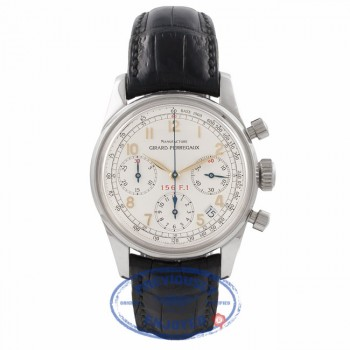 Girard Perregaux Ferrari Collection Stainless Steel Chronograph White Dial Leather Strap 4945 ZRE4CG - Beverly Hills Watch Store