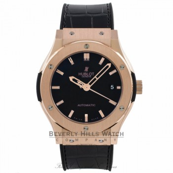 Hublot Classic Fusion 18k Rose Gold Black Dial Automatic Black Rubber Strap 511.PX.1180.LR NM7HRR - Beverly Hills Watch Company