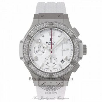 Hublot Big Bang Chronograph 41MM Stainless Steel Diamond Bezel White Dial & Rubber Strap 342.SE.230.RW.114 XMVJDY - Beverly Hills Watch Company