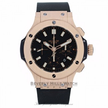 Hublot Big Bang Evolution 44MM 18k Rose Gold Black Dial Chronograph Black Strap 301.PX.1180.RX 886DCR - Beverly Hills Watch Company