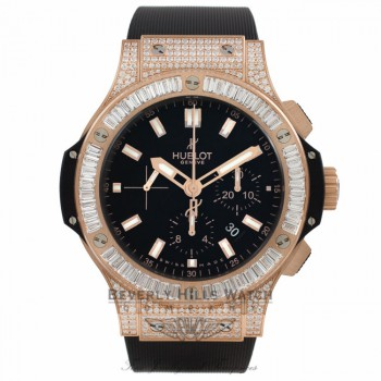 Hublot Big Bang Evolution Chronograph 44MM Rose Gold Diamond Black Dial Black Rubber Strap 301.PX.1180.RX.0904 1WKJLL - Beverly Hills Watch Store