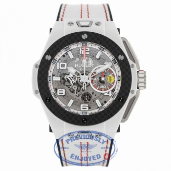 Hublot Big Bang Ferrari Chronograph 45MM Automatic Ceramic Skeleton Dial White Leather Strap 401.HQ.0121.VR 12W6MQ - Beverly Hills Watch Company