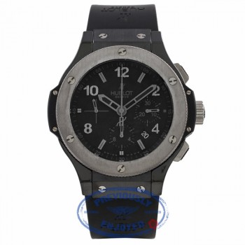 Hublot Big Bang Ice Bang 44MM Chronograph Black Ceramic Case and Bezel Rubber Strap 301.CT.130.RX 08MZ7U - Beverly Hills Watch Company Watch Store