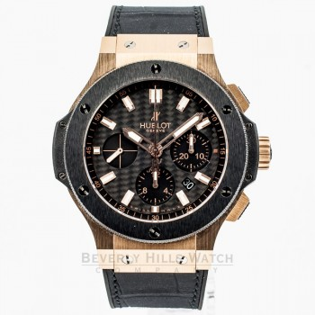 Hublot Big Bang Rose Gold 44mm Case Black Rubber Strap Carbon Fiber Dial Chronograph Watch 301.PM.1780.RX Beverly Hills Watch Company Watch Store
