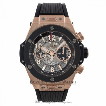 Hublot Big Bang Unico Chronograph 45MM Automatic 18k Rose Gold Skeleton Dial Black Rubber Strap 411.OM.1180.RX EKPAX8 - Beverly Hills Watch Company Watch Store