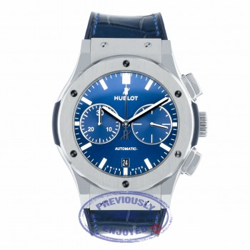 Hublot Classic Fusion Chronograph 45MM Titanium Blue Dial 521.NX.7170.LR 4QVWRN - Beverly Hills Watch Company