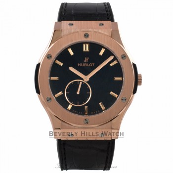 Hublot Classic Fusion Ultra Thin 18k Rose Gold Black Dial Black Rubber Strap 515.OX.1280.LR 1JM6AL - Beverly Hills Watch Company Watch Store