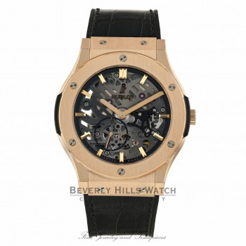 Hublot Classic Fusion 45mm Ultra-Thin Skeleton King Gold 515.OX.0180.LR 09N38Q - Beverly Hills Watch Company