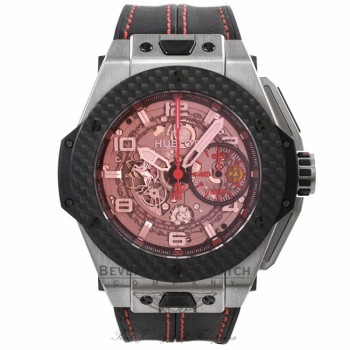 Hublot Ferrari Titanium Carbon Fiber Skeleton Red Dial 401.NQ.0123.VR 552C69 - Beverly Hills Watch Company Watch Store