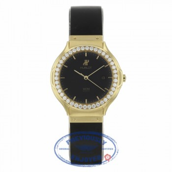Hublot Ladies Yellow Gold Black Dial After Market Diamond Bezel 141.11.3 4260 - Beverly Hills Watch