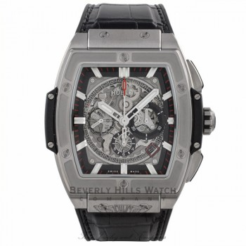 Hublot Spirit of Big Bang Chronograph 45MM Titanium Skeleton Dial Alligator Strap  601.NX.0173.LR 3KWH4U - Beverly Hills Watch Company Watch Store