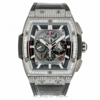 Hublot Spirit of Big Bang 45mm Skeleton Dial Automatic Titanium Tonneau Shaped Diamonds Case 601.NX.0173.LR.0904 LXK47R - Beverly Hills Watch