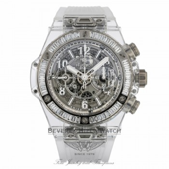Hublot Unico Sapphire Baguette Diamond Bezel Stainless Steel 411.JX.4802.RT.1904 08HRR5 - Beverly Hills Watch
