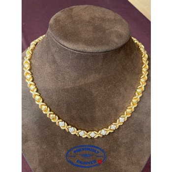 Hugs and Kisses 18K Yellow Gold and Diamond Necklace XO - Beverly Hills Watch and Jewelry Store