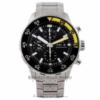 IWC Aquatimer Chronograph 44MM Black Dial Black Yellow Bezel IW376709 ECJC49 - Beverly Hills Watch Store