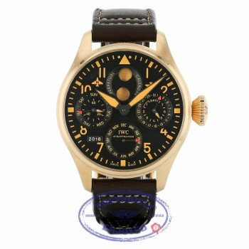 IWC Big Pilot Perpetual Bucherer Limited Edition 18k Rose Gold Black Dial IW502635 19559Z - Beverly Hills Watch Company