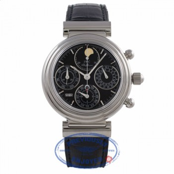 IWC DaVinci Perpetual Black Dial Stainless Steel Moonphase Alligator Strap IW3750-30 EH20RE - Beverly Hills Watch Company Watch Store