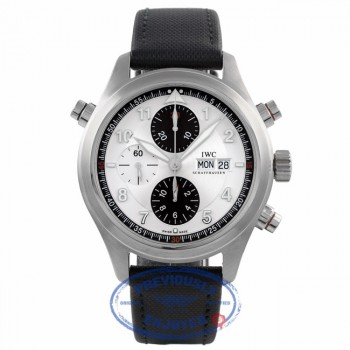 IWC Double Chronograph Spitfire Silver Dial IW3718.06 QNFBXP - Beverly Hills Watch Company Watch Store